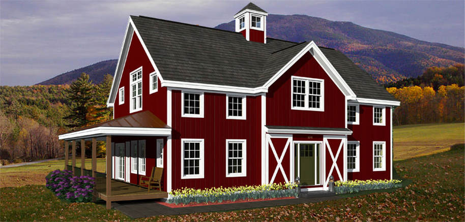 Hilltop barn style floor plans american post beam for American barn house plans
