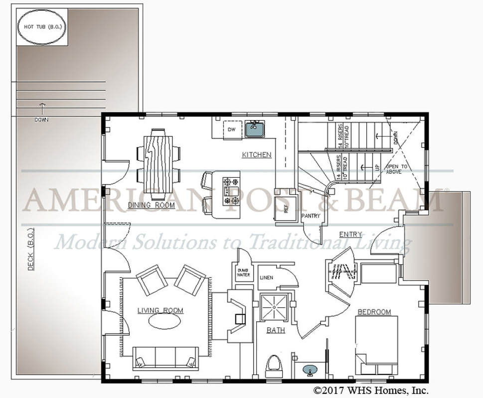 Plymouth beach house plymouth floor plans american post for Post and beam carriage house plans
