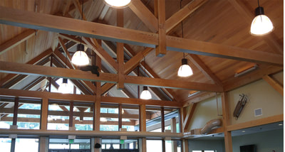 Post and beam trusses in the main lodge
