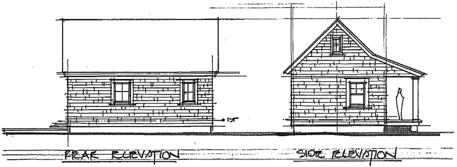 Rear and side elevation sketch - HIDEAWAY COTTAGE