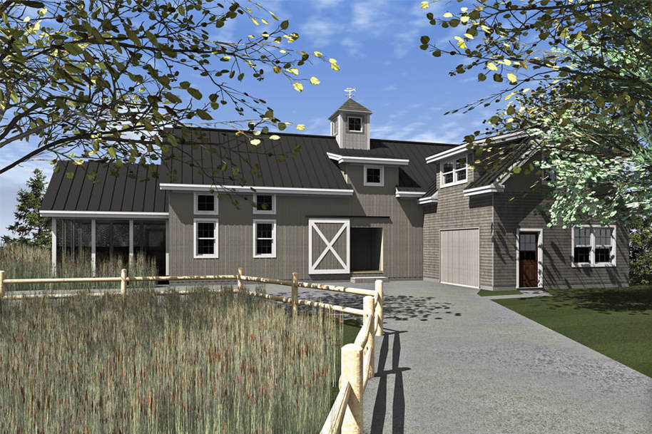 Vineyard Barn Style front exterior rendering