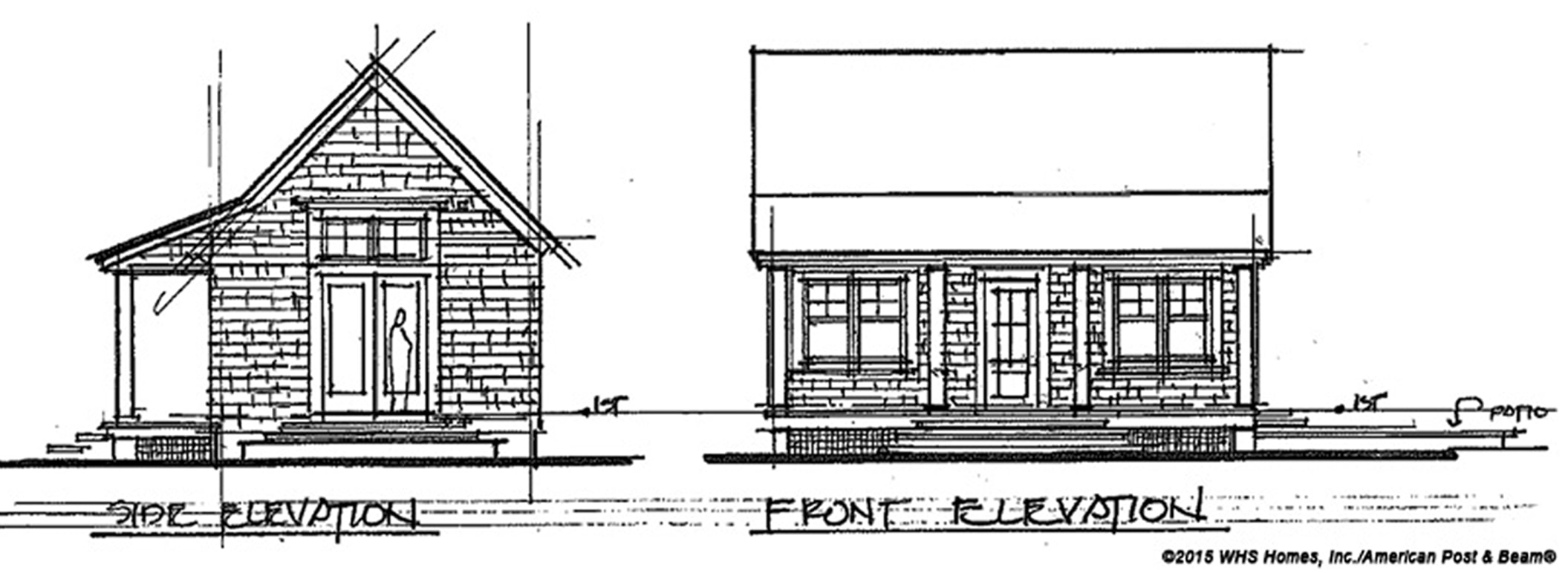 Side and front elevation sketch - HIDEAWAY COTTAGE